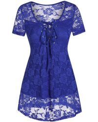 Rosegal Lace-up Flower Lace Top - Blue