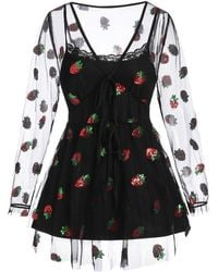 Rosegal Plus Size Sequined Strawberry Mesh Sheer Blouse And Cami Top Set - Black