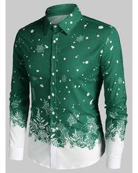 Rosegal Christmas Snowflake Print Long Sleeve Button Up Shirt - Green