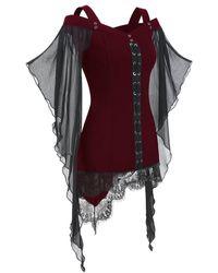 Rosegal Criss Cross Lace Panel Cold Shoulder T-shirt - Multicolor