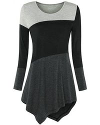 Rosegal Plus Size Asymmetric Colorblock T Shirt - Black