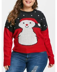 Rosegal Plus Size Christmas Snowman Sweater - Red