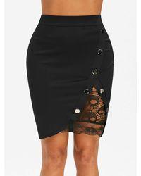 Rosegal Lace Insert Studded Bodycon Skirt - Black