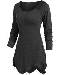 Rosegal Pure Color Ralgan Sleeve Asymmetrical T Shirt - Black