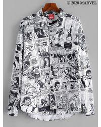 Rosegal Marvel Spider-man Comics Printed Button Up Shirt - White