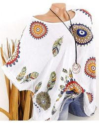 Rosegal Plus Size Batwing Sleeve Feather Print Sequin Tee - White
