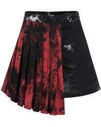Rosegal Halloween Asymmetrical Mini Pleated Skirt - Black