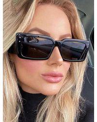Rosegal Rectangle Frame Oversize Sunglasses - Black