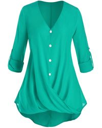 Rosegal Plus Size Crossover Button Tab Sleeve Curved Blouse - Blue