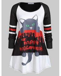 Rosegal Plus Size Long Sleeve Cat Print Round Collar T Shirt - Black