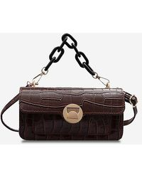 Rosegal Stone Grain Chunky Chain Mini Crossbody Bag - Brown