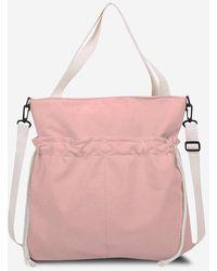 Rosegal Drawstring Dual Handle Tote Bag - Pink