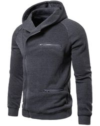 Rosegal - Solid Color Zipper Decoration Casual Hoodie - Lyst