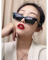 Rosegal Rectangle Frame Wide Arm Sunglasses - Black