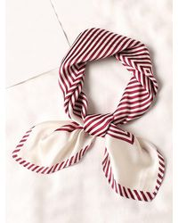 Rosegal Striped Small Square Scarf - Red