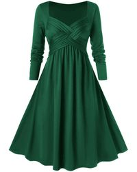 Rosegal Plus Size Criss Cross Midi A Line Dress - Green