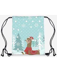 Rosegal Christmas Cartoon Alpaca Digital Print Cinch Bag - Blue