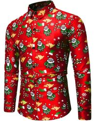 Rosegal Santa Claus Bell Pattern Long Sleeves Shirt - Red