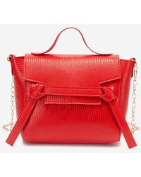 Rosegal Embossed Knot Chain Crossbody Bag - Red