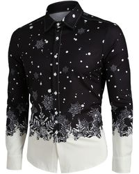 Rosegal Christmas Snowflake Print Long Sleeve Button Up Shirt - Black