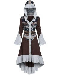 Rosegal Hooded Pattern Skirted High Low Cardigan - Multicolor