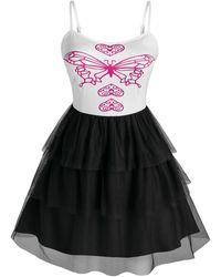 Rosegal Plus Size Butterfly Print Mesh Layered Dress - Black