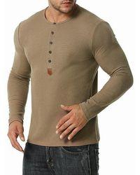Rosegal Jacquard Button Round Collar Long Sleeve T Shirt - Brown