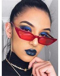 Rosegal Eye Frame Slim Anti Uv Sunglasses - Red