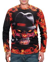 Rosegal Halloween Skull Fire Flame 3d Print Long Sleeve T Shirt - Multicolor
