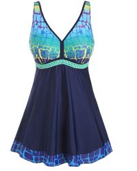 Rosegal Braided Straps Printed Panel Plus Size Tankini Swimsuit - Blue