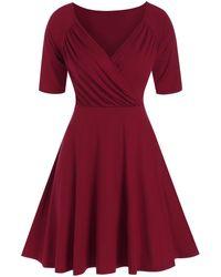 Rosegal Ruched Raglan Sleeve Surplice Dress - Red