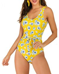 Rosegal Flower Belted Backless One Piece Swimsuit - Yellow