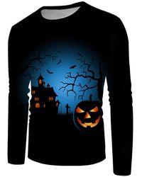 Rosegal Halloween Night Pumpkin Graphic Crew Neck Casual T Shirt - Blue