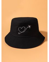 Rosegal Aircraft Heart Embroidery Pattern Bucket Hat - Black