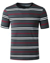 Rosegal Striped Print Short Sleeves T Shirt - Gray