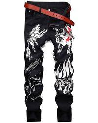 Rosegal Animal Graphic Casual Denim Pants - Black