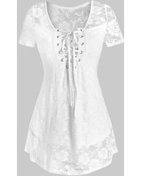 Rosegal Lace-up Flower Lace Top - White