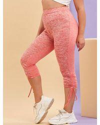 Rosegal Plus Size Space Dye Print Cinched Leggings - Pink