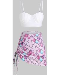 Rosegal Scale Print Lace-up Mermaid Push Up Three Piece Swimsuit - White