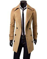 Rosegal Men Fashionable Turn-down Collar Long Wind Coat - Black