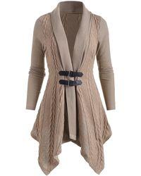 Rosegal Shawl Collar Buckle Asymmetrical Cardigan - Natural