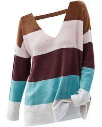 Rosegal - Colorblock V Neck Cutout Sweater - Lyst