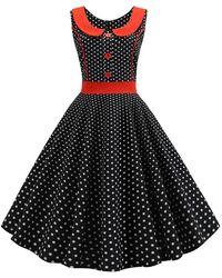 Rosegal Plus Size Peter Pan Collar Polka Dot Print Sleeveless Vintage Dress - Black