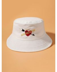 Rosegal Embroidered Graphic Arrow Heart Bucket Hat - White