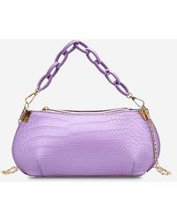 Rosegal Solid Textured Chains Handbag - Purple