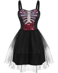 Rosegal Halloween Flower Skeleton Lace Insert Tutu Dress - Black