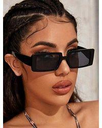 Rosegal Full Frame Rectangle Sunglasses - Black