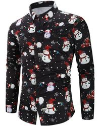 Rosegal Christmas Snowmen Snowflakes Print Casual Shirt - Black