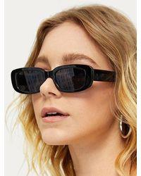 Rosegal Narrow Rectangle Wide Temple Retro Sunglasses - Black