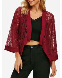 Rosegal Flower Lace Open Front Plain Cardigan - Red